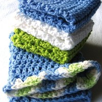 Cotton Hand Crocheted Bathroom Set / Kitchen Towel and Washcloth Set - Eco Friendly and Green