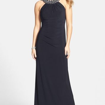 Women's Xscape Embellished Neck Jersey Gown,