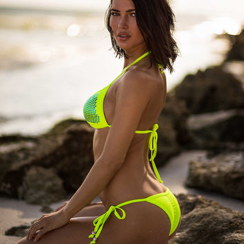 DIVA ICE Neon Yellow - Tie Up Brazilian Bikini Bottoms