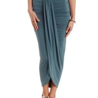 Deep Blue Ruched Asymmetrical Wrap Skirt by Charlotte Russe