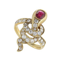Antique Russian Ruby Diamond Gold Serpent Ring