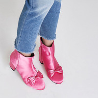 Bright pink bow satin block heel ankle boots - Boots - Shoes & Boots - women