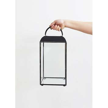 Metal and Glass Candle Lantern in Black