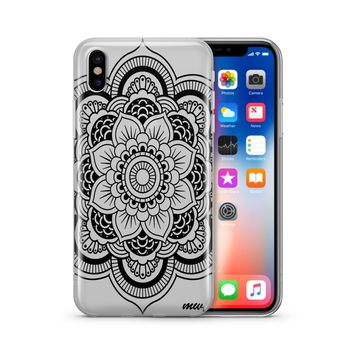 Black Henna Full Mandala - Clear TPU Case Cover