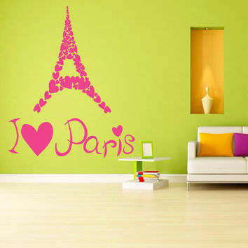 Wall decal decor decals art sticker Paris Eiffel tower France lovers inscription word heart love city bedroom (m1243)