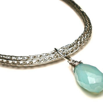 Double Viking Knit Necklace With Aqua Blue Chalcedony in Silver