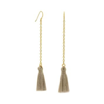 Gold Tone Chain and Tan Threaded Tassel Earrings