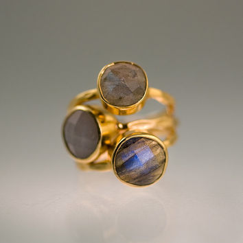CLEARANCE - Gemstone Ring - Stackable Rings - Gold Rings - Grey Moonstone - Labradorite - Bezel Rings - Stackable Rings - Size 6 - Valentin