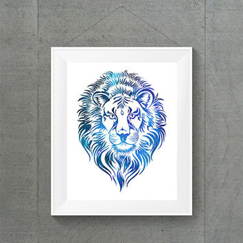 Galaxy Lion Head Print, Galaxy Dorm Decor, Blue Dorm Decor, Lion Home Decor, Galaxy Home Decor, Blue Home Decor, Blue Nursery Decor