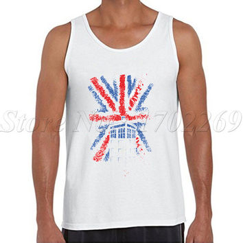 10th UK flaf vintage Men Doctor Who tank tops British Time Travellers singlets hipster funny cool retro printing men Vest