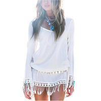 Boho Chic Casual Summer Dress Tassel Dress Short Sexy Lace Crochet Chiffion Tunic