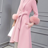 Pink Long Sleeve Tie-Waist High Low Pockets Woolen Coat