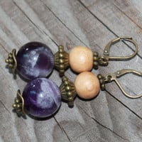 Amethyst Gemstone Earring  Boho chic  Nature jewelry  Rustic jewelry  Always in Fashion