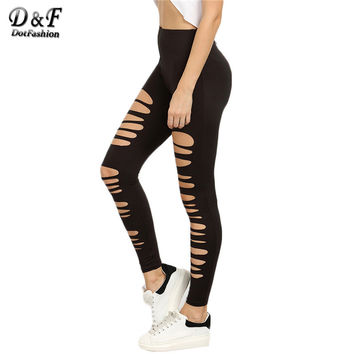 Dotfashion Black Ripped Stretchy Cutout Skinny Trousers Female Slim Hollow Out Mid Waist Cropped Pants