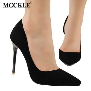 MCCKLE 2017 Women's Slip On Flock Casual Shoes Female Sexy Pointed Toe High Heel Black