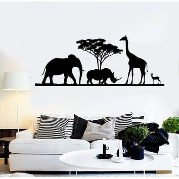 Vinyl Wall Decal African Animals Giraffe Elephant Stickers Unique Gift (ig3894)