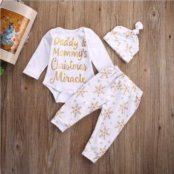 Christmas Baby Girls Boys Clothes Tops Long Sleeve Snowflake Bodysuits Pants Hat 3pcs Baby Girl Outfits Set Clothes