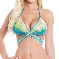 Hologram Wrap Around Top   Sexy Rave Tops   Women's Rave Outfits