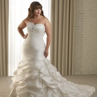 Mermaid Silhouette Gown Strapless Sweetheart Neckline Beadwork Asymmetrically Satin Plus Size Wedding Dress YSP1218 - $146.88 : Maxnina.com