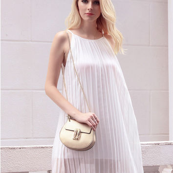 White Pleated Sleeveless Chiffon Mini Dress