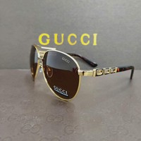 GUCCI tide brand color film retro men and women models large frame polarized sunglasses