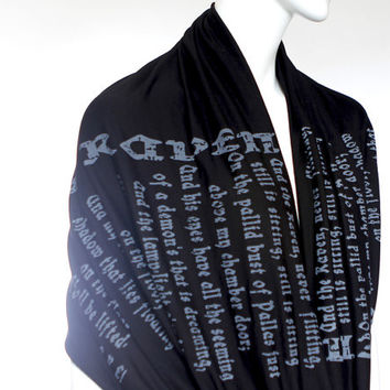 The Raven poem on the scarf - Infinity scarf - Black -Text Scarf - Book - Edgar Allan Poe - Poetry - Gift