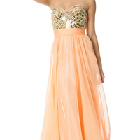 Red Carpet Deco Goddess Long Prom Awards Dress