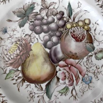 Vintage Johnson Brothers Fluted Windsor Fruit Plate Polychrome Transferware
