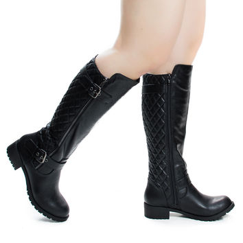 Tale Black Pu Women's Fashion Equestrian Inspired Riding Biker Boots w Quilted Pattern