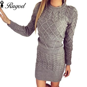 Rugod New Patterned Women Sweater Dresses 2017 Winter Knitted Dress Female Thick High Elastic Warm Slim Bodycon Dress Vestidos