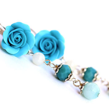 "Earrings ""Charm and Chic"" blue turquoise Floral jewelry of polymer clay Roses Feminine earrings Romantic jewelry with roses Long earrings"