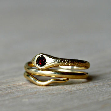 10K Gold Snake Ring Fine Jewelry Size 4.5 Gothic Serpent Egyptian Cleopatra
