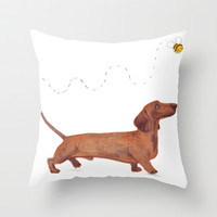Dachshund Sausage dog Throw Pillow by Jo Clark