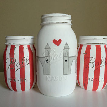 Indiana Painted Mason Jars, Sample Gates, Bloomington, Home Decor, College Decor, Indiana University, Vase, Centerpiece, Shabby Chic