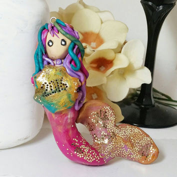 Mermaid ornament, Polymer clay ornament, Mermaid figurine, Personalize ornament, Cute mermaid, Christmas mermaid, Mermaid gift, Unique gift