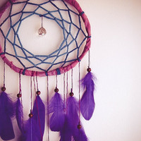 Large Dream Catcher - Pure Miracle  - With Crystal Prism and Purple Swan Feathers - Boho Home Decor, Nursery Mobile
