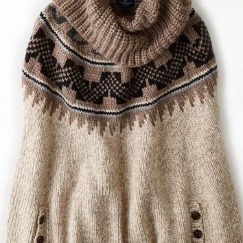 AEO Women's Patterned Sweater Poncho