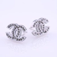 cc auguau Chanel Diamond Earrings