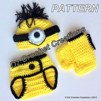 Crochet Pattern Minion Inspired Diaper Cover Set / Photo Prop