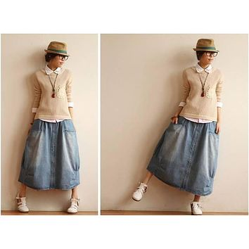 Retro Vintage Mori Girl Casual Denim Blue Skirt Cowboy Preppy Style Pocket Long Maxi Skirt Hippie Boho Women Tunic Skirts Saia