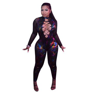 Sexy Hollow Out Lace Up Bodycon Jumpsuit Rompers Women Overalls Party Clubwear Sheer Mesh Patchwork Long Sleeve Printed Jumpsuit