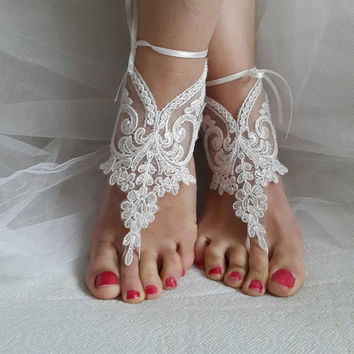 Barefoot,ivory  lace,bridal sandals, wedding sandals, free shipping!