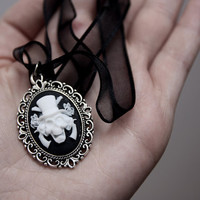 Skull, Guns And Roses Cameo Necklace