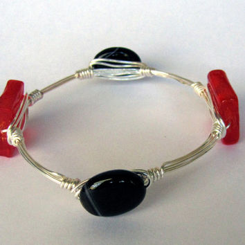 Wire Wrapped Stackable Bracelet - Banded Dyed Onyx and Red Ruby Glass