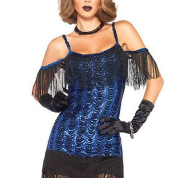 2pc.gatsby Flapperwaterfall Sequin Dress And Headband In Black/blue