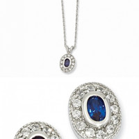 Rhodium-plated September Synthetic Birthstone Oval Necklace and Earrings
