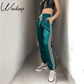 Weekeep Drawstring High Waist Checkboard Patchwork Pants Women Fashion Streetwear Plaid Sweatpants Ankle-length Pencil Pants