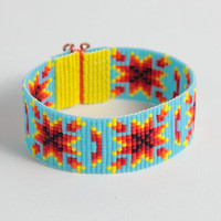 Tribal Autumn Harvest Bead Loom Cuff Bracelet - Boho  - Tribal - Native American Inspired - Blue Red - Seed Beads - Beadweaving - Colorful