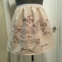 Harry Potter Diagon Alley map inspired full skirt - made to order