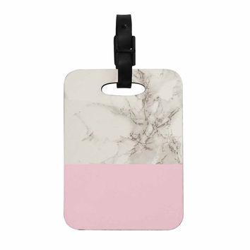 """Suzanne Carter """"Marble And Pink Block"""" Modern Contemporary Decorative Luggage Tag"""